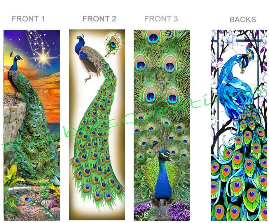 3 set peacock bookmark fun peafowl stained glass look bird for Where can i buy peacock feathers craft store
