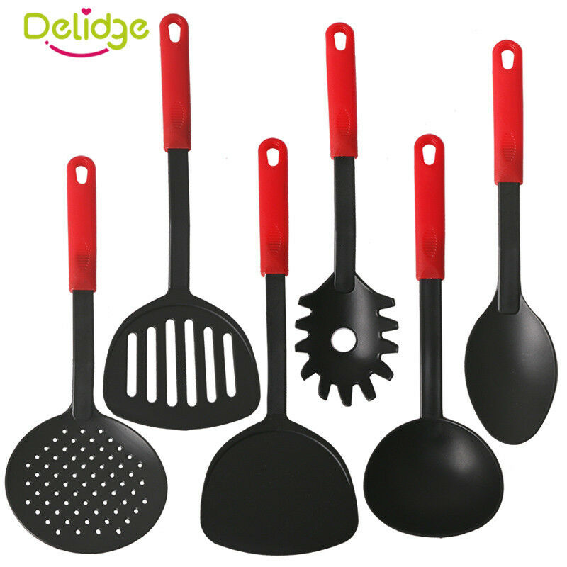 Non-Stick 6 Piece Black Nylon Kitchen Tool Set Cooking
