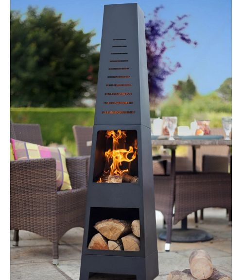 Patio Outdoor Steel Chiminea Fire Pit Log Storage