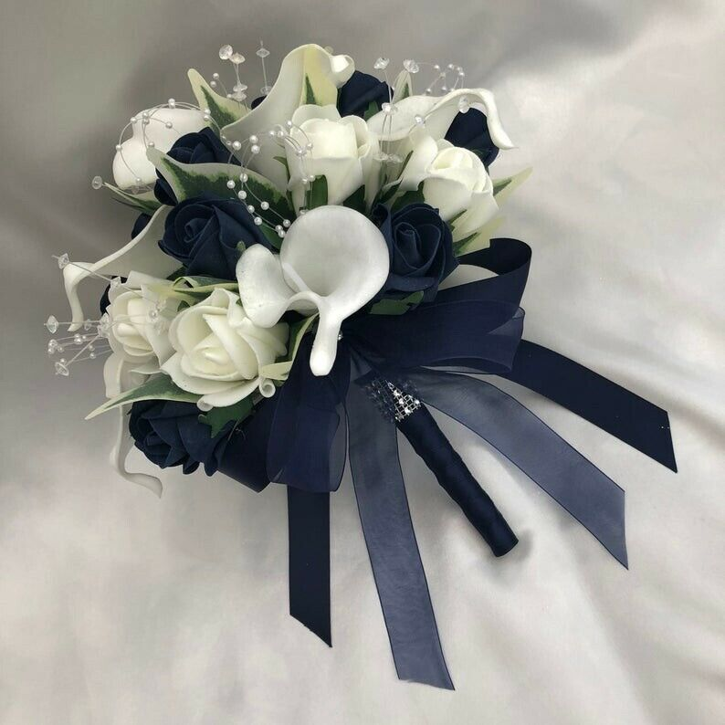 Silk Wedding Flowers | Brides Posy Bouquet Cala Lilies Ivory Navy Blue Artificial