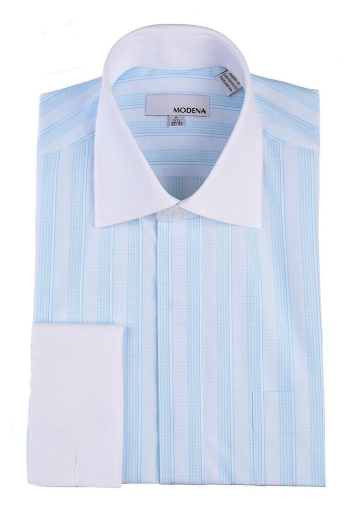 Mens light blue striped with white contrast collar for Mens dress shirts french cuffs