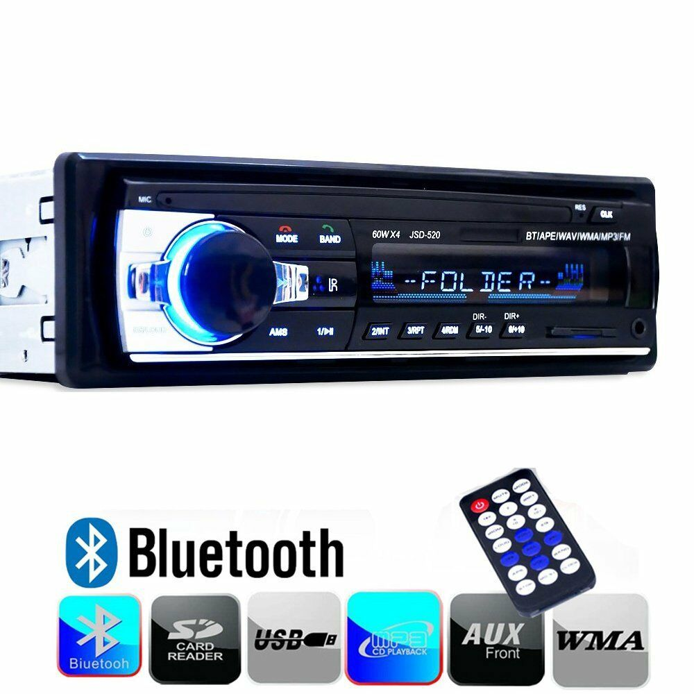 12v fm in dash car stereo radio 1 din sd usb aux bluetooth. Black Bedroom Furniture Sets. Home Design Ideas