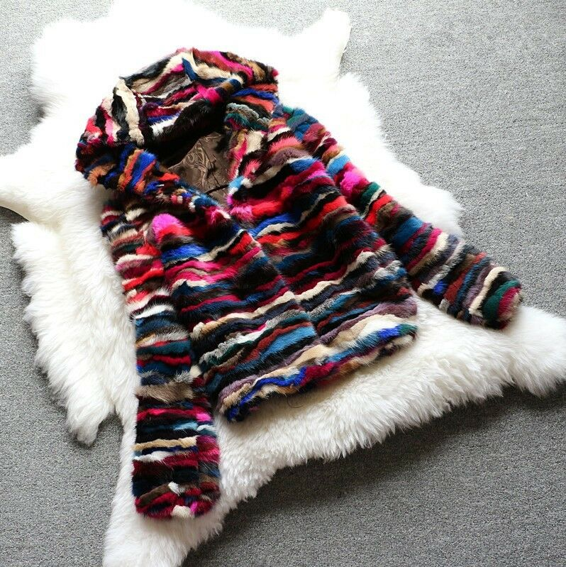100% real mink fur coat with hood women fashion colorful ...