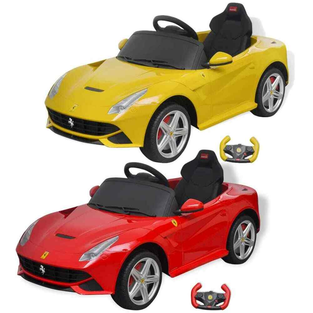 voiture de course pour enfants ferrari f12 jaune rouge 6 v avec t l commande ebay. Black Bedroom Furniture Sets. Home Design Ideas