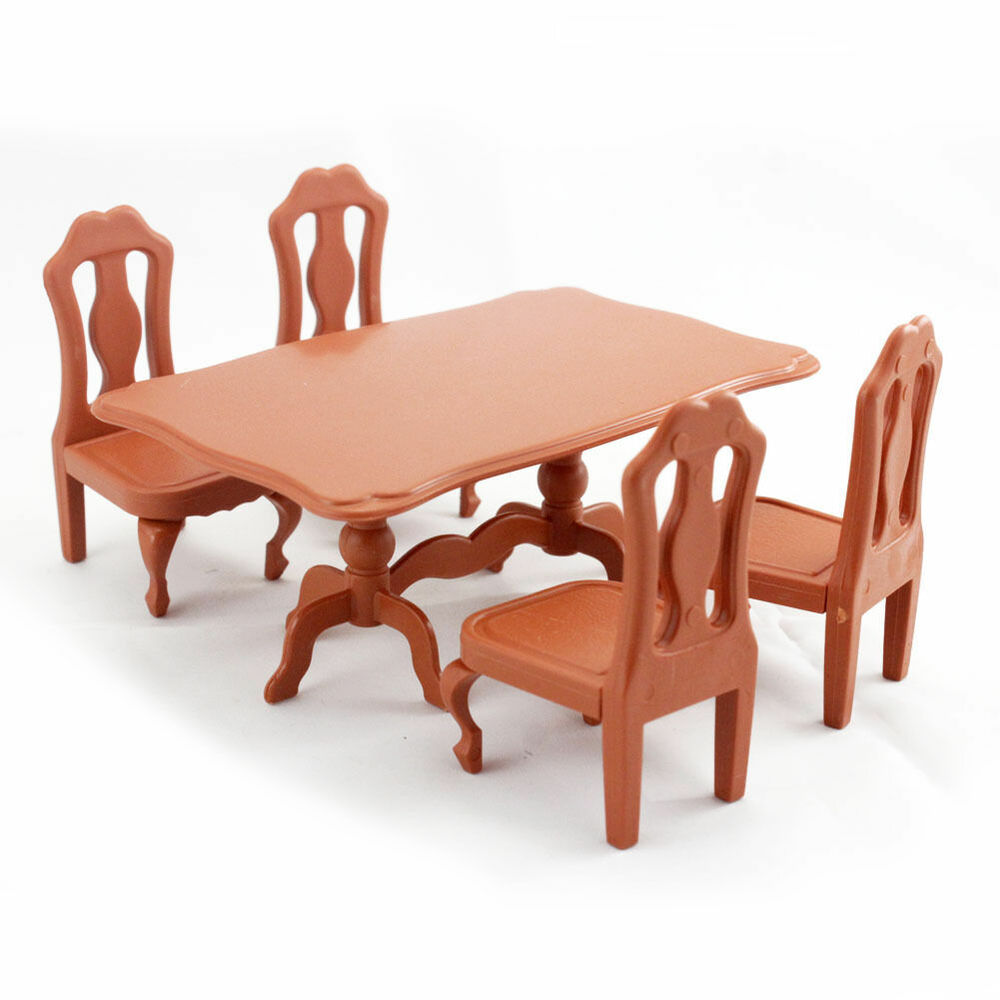 For sylvanian families table chair dining room miniature dollhouse furniture ebay - Dollhouse dining room furniture ...