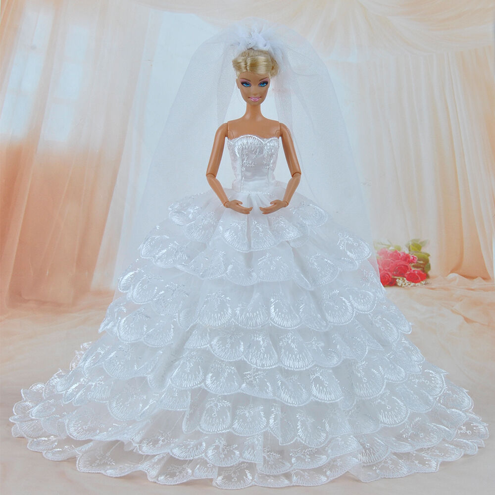 Barbie Wedding Dress: Doll Clothes Wedding Dress Party Gown With Veil