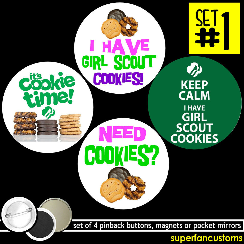girl scout cookies set of 4 buttons or magnets pins badges