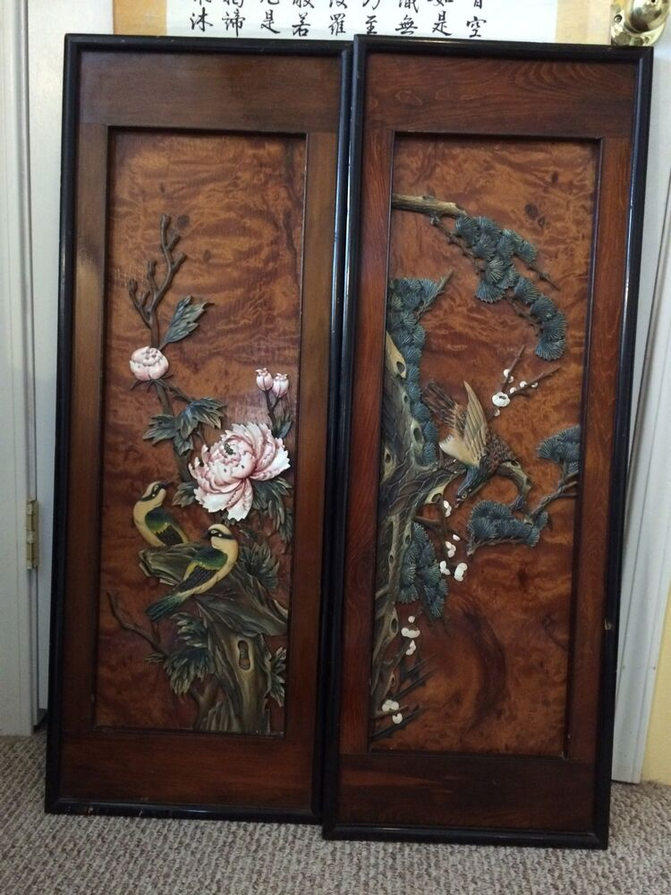 Pair of vintage chinese lacquer carved wood panel bird