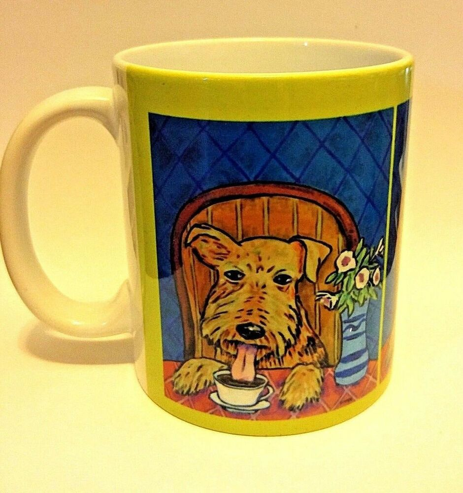 airedale terrier at the cafe coffee shop dog art mug cup 11 oz ebay. Black Bedroom Furniture Sets. Home Design Ideas