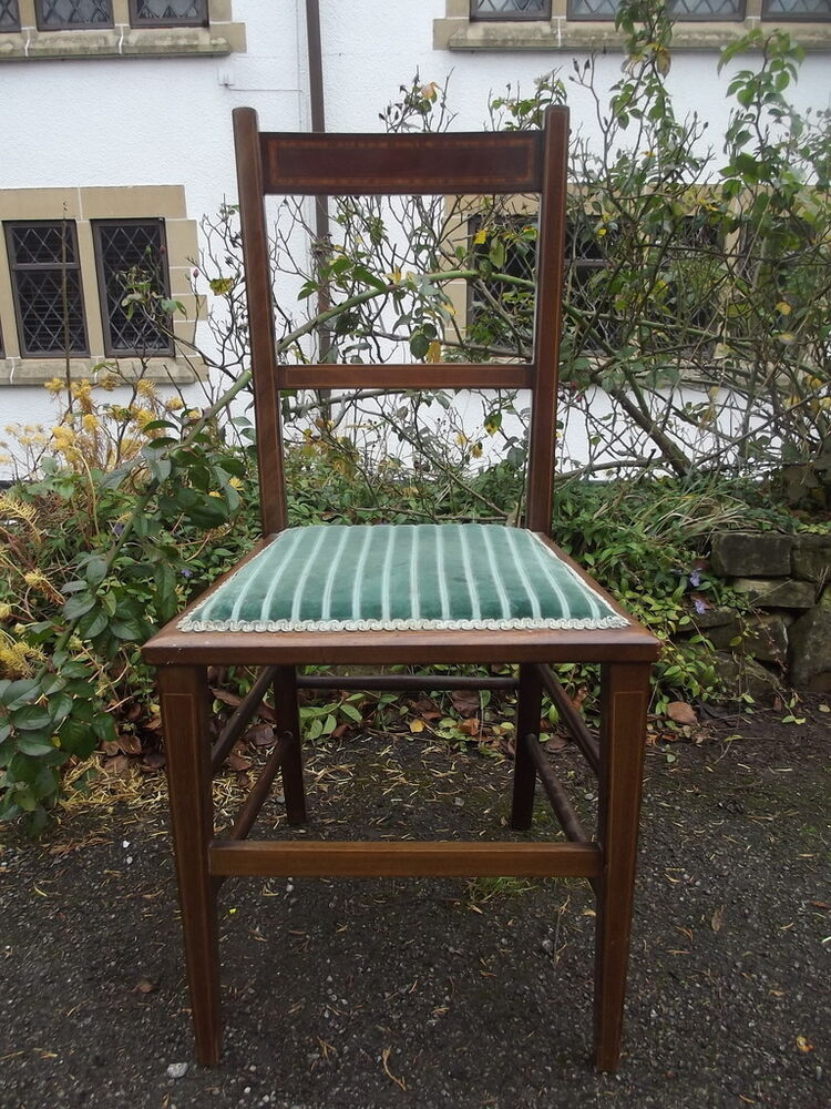 A Pretty Antique Edwardian Mahogany Inlaid Bedroom Feature Chair Striped Fabr