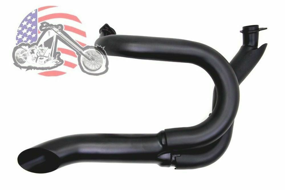 Black 2 Into 1 Lake Pipes Exhaust Headers Harley