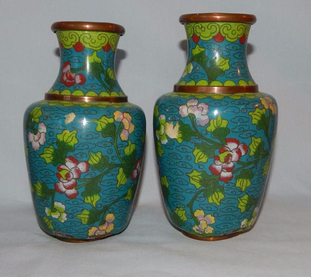 vintage pair of cloisonne vases blue green floral enamel. Black Bedroom Furniture Sets. Home Design Ideas