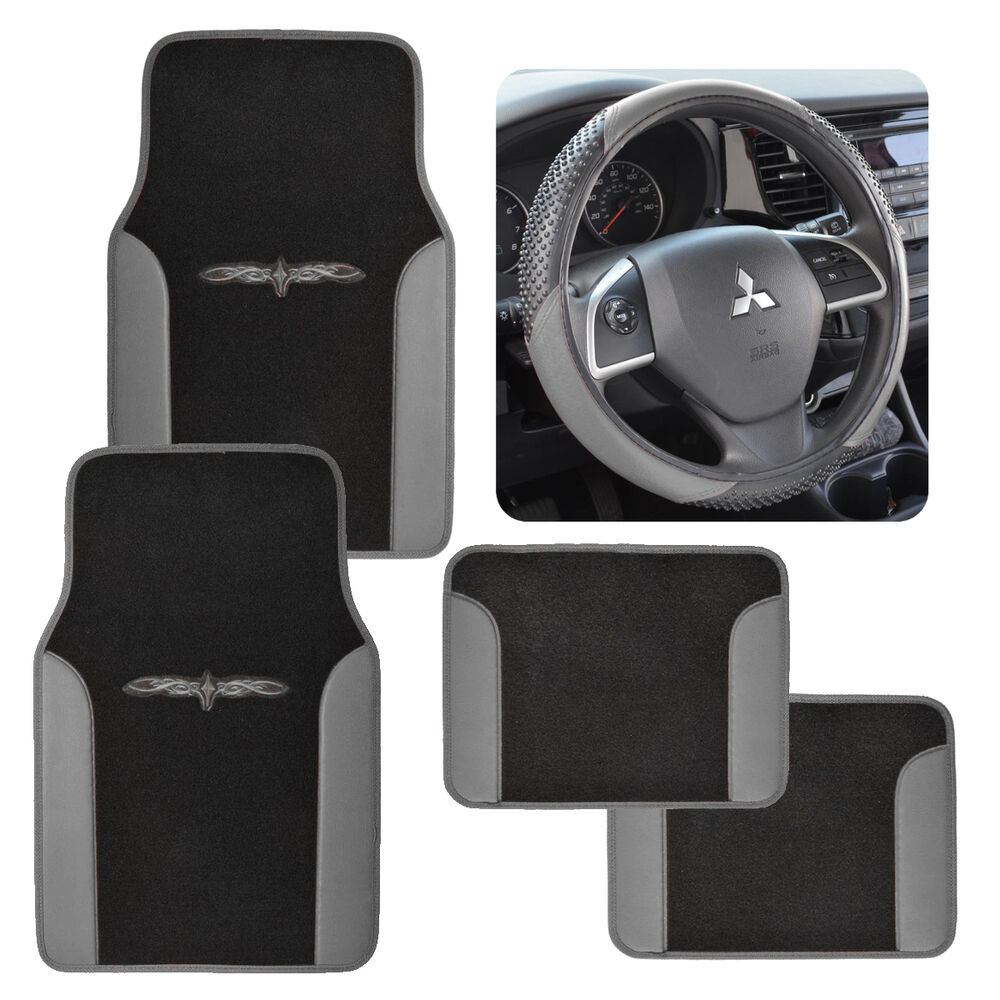 Vinyl Trim Car Floor Mats Amp Steering Wheel Cover Black