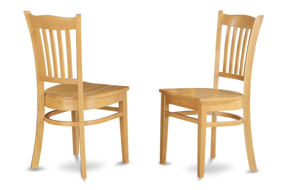 Set of 2 groton dinette kitchen dining chairs with plain for Light wood dining room sets