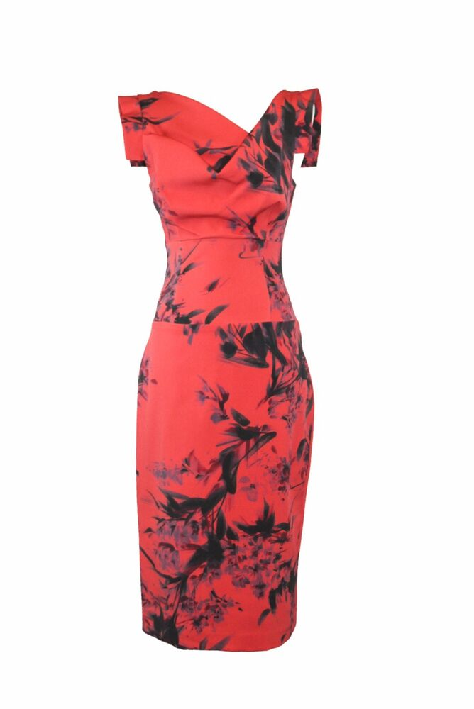 266c2c48213 Details about BLACK HALO Jackie O Literatti Red Print Sheath Hollywood  Celebrity Party Dress