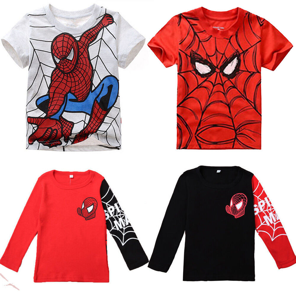 kids boys spiderman long short sleeve t shirts baby girl shirts tee clothing new ebay. Black Bedroom Furniture Sets. Home Design Ideas