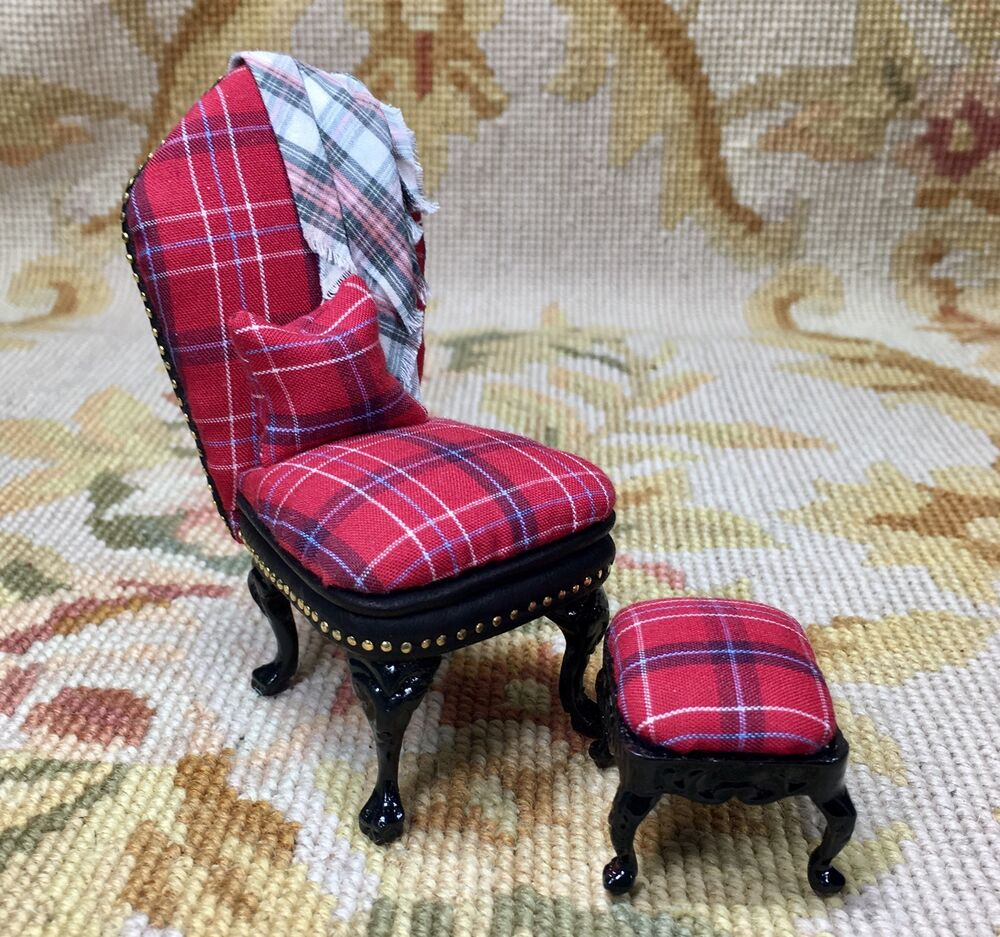 Chair Amp Stool Seat Dollhouse Miniature Red Plaid Ebay