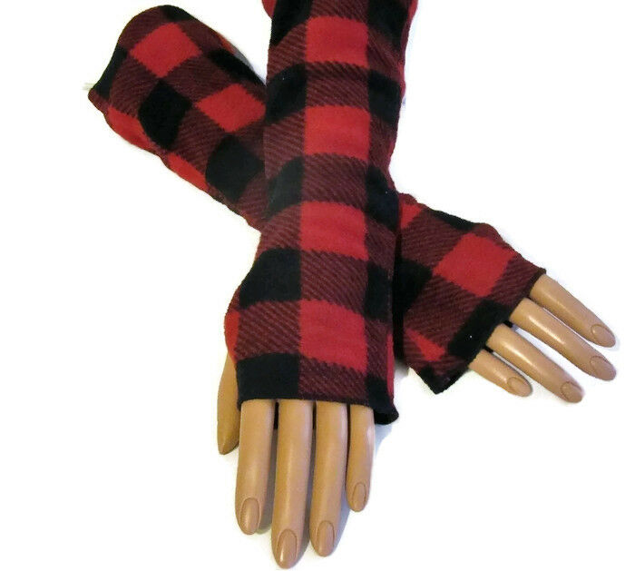 red buffalo check plaid arm warmers fleece holiday gift ebay. Black Bedroom Furniture Sets. Home Design Ideas