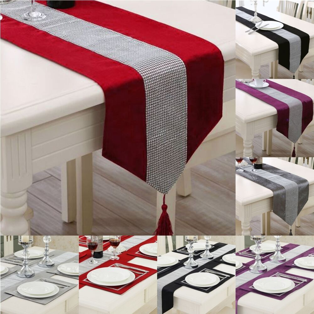 UK Thick Chenille Modern Velvet Diamond Table Runner And