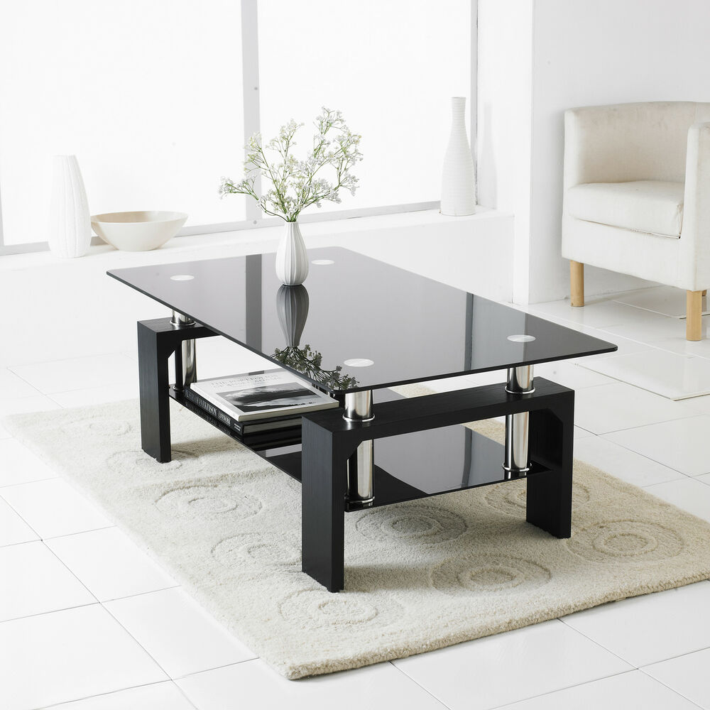 Black modern rectangle glass chrome living room coffee for Modern living room coffee tables