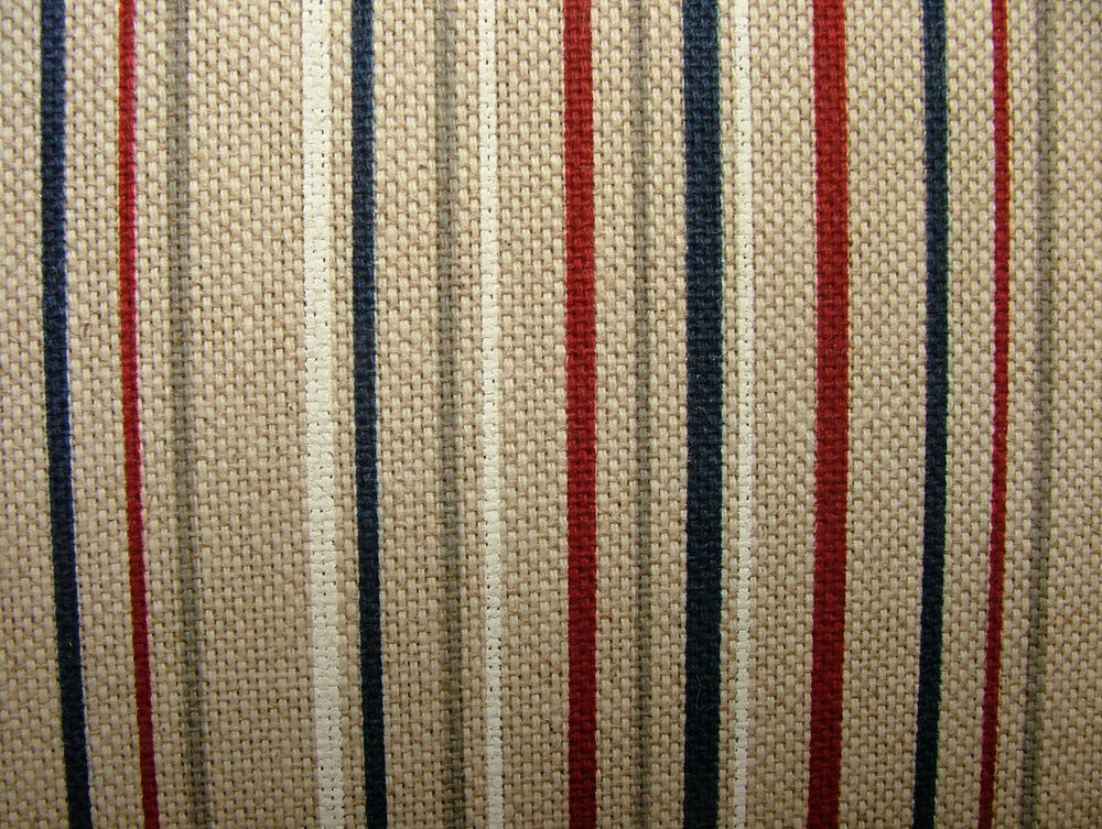 Nautical Range Ticking Stripe Linen Look Fabric Curtains ...