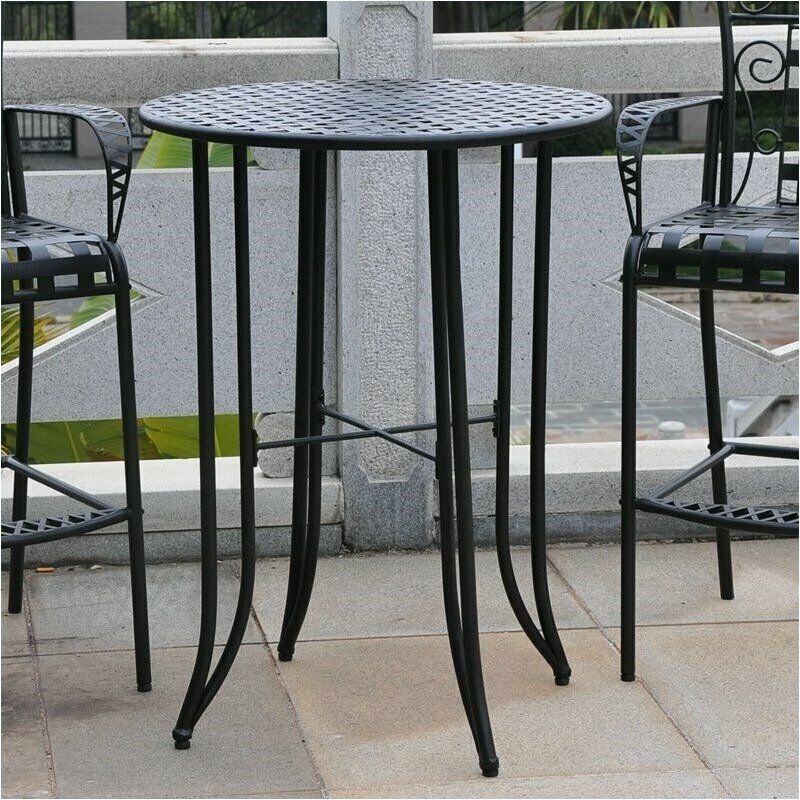Pemberly Row Iron Antique Black Bar Height Patio Bar Table EBay