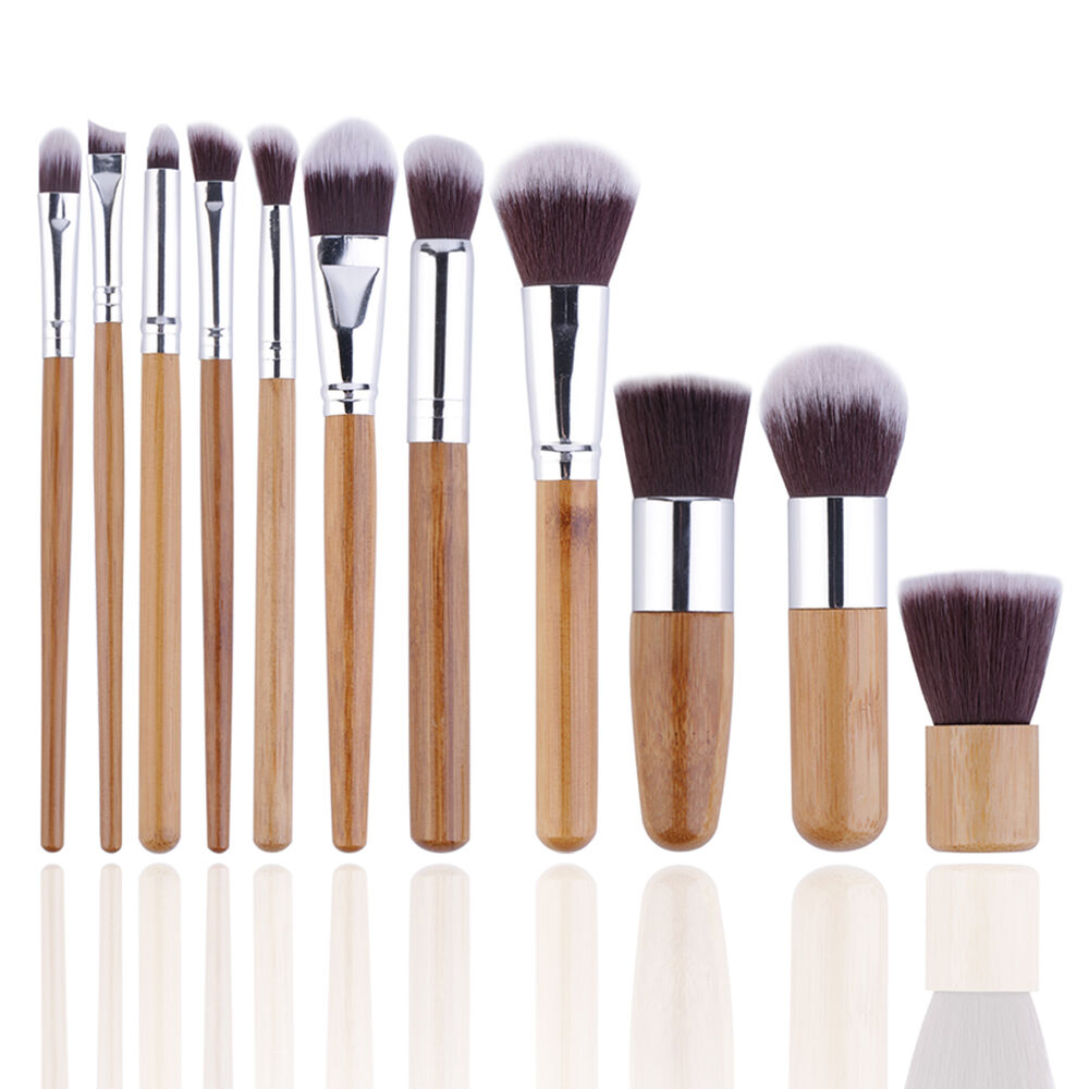 Set 11pcs bamboo handle cosmetic makeup brush set for What is cosmetics made of