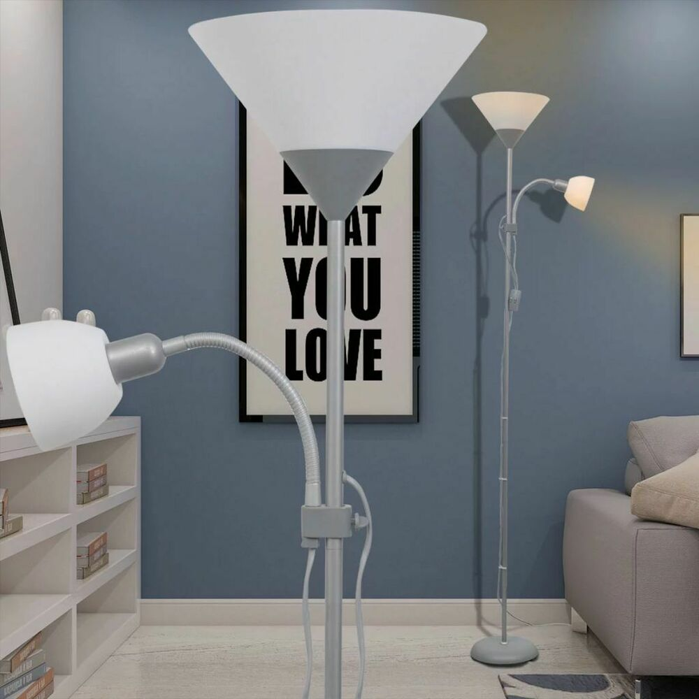 vidaxl lampadaire gris lampe sur pied lampe de sol lampe lumi re de salon ebay. Black Bedroom Furniture Sets. Home Design Ideas