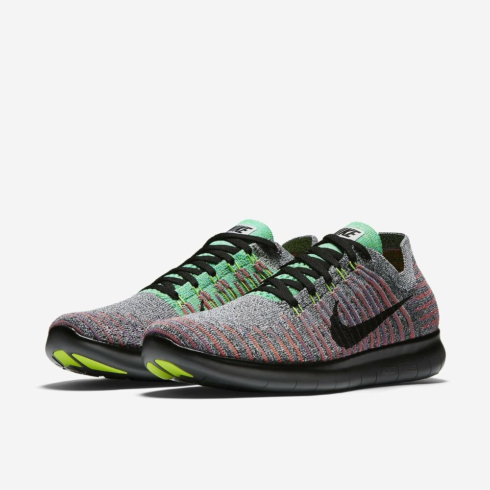 424e8f7637ac4 Details about Nike Men s Free RN Flyknit Running Black Total Crimson 831069- 108 Sz 13