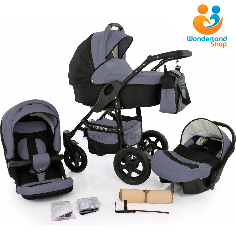 baby pram buggy stroller 3in1 pushchair car seat carrycot. Black Bedroom Furniture Sets. Home Design Ideas