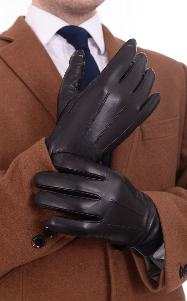 Ariston Mens Solid Black Lambskin Leather Driving Gloves