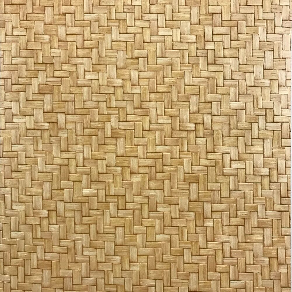 Vinyl wallpaper wallcovering textured faux wicker bamboo for Brown wallpaper for walls