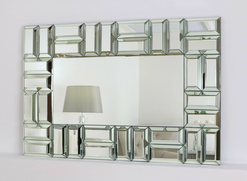 Bullion silver modern rectangle facet wall mirror 48 x 32 for Mirror 120 x 80
