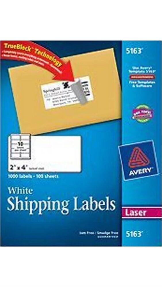 50 avery 5163 8163 2 x 4 shipping address labels 10 for Ebay shipping label template