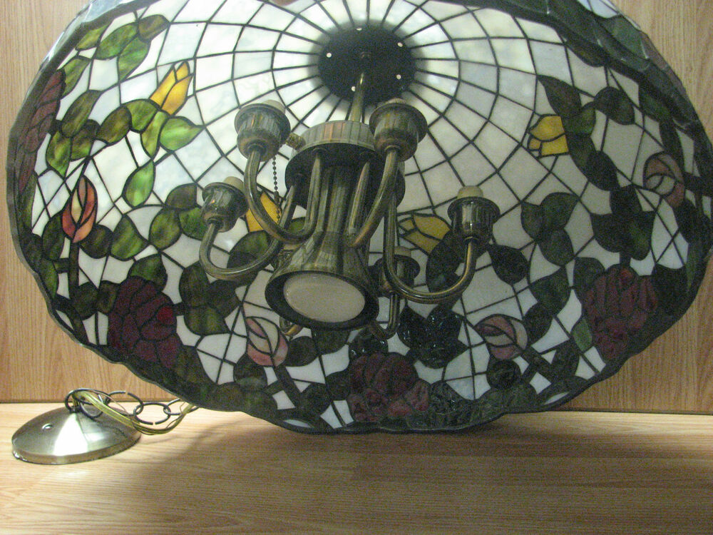 Large Beautiful Vintage Tiffany Style Stained Glass Shade