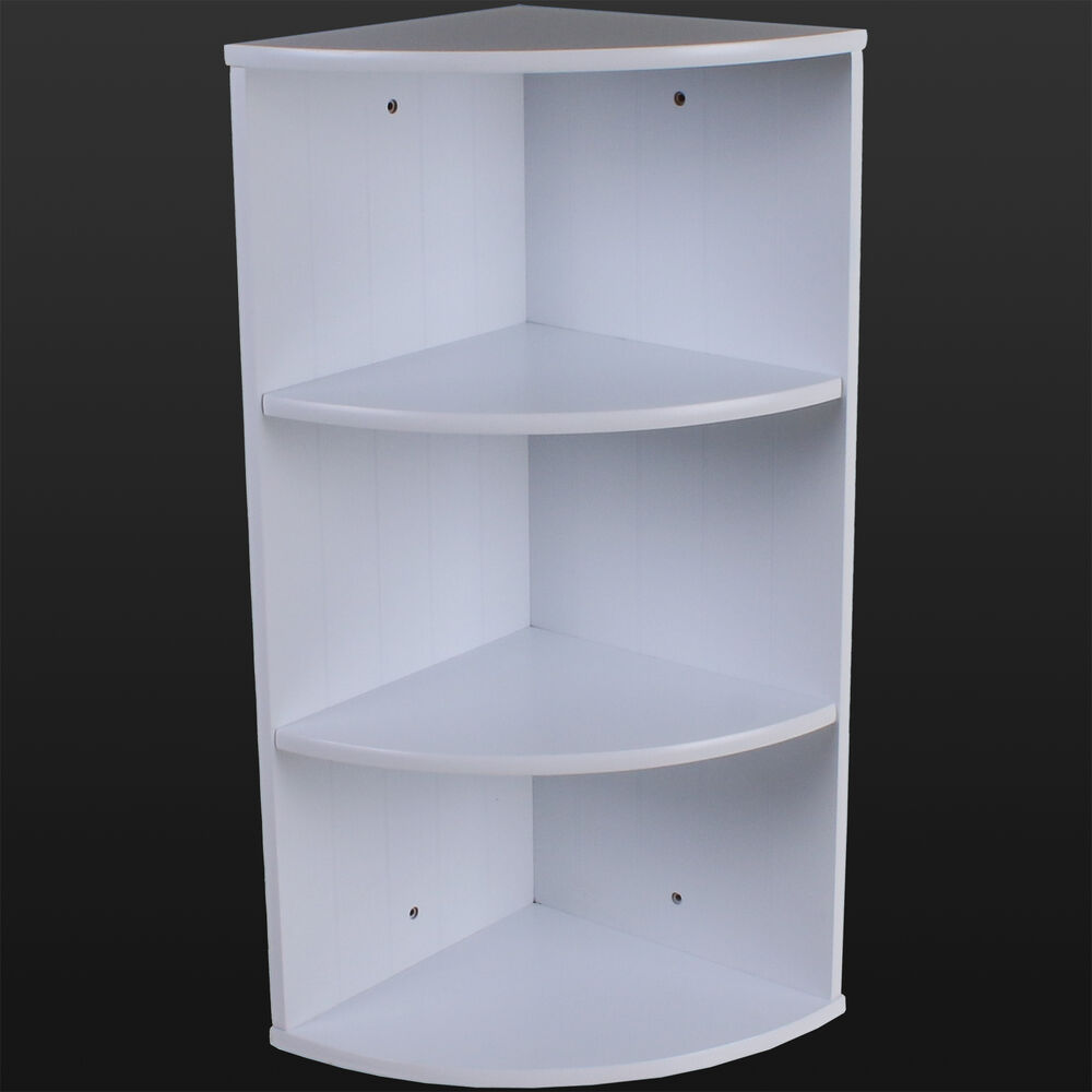 bathroom corner shelving storage unit wooden shelves white wall