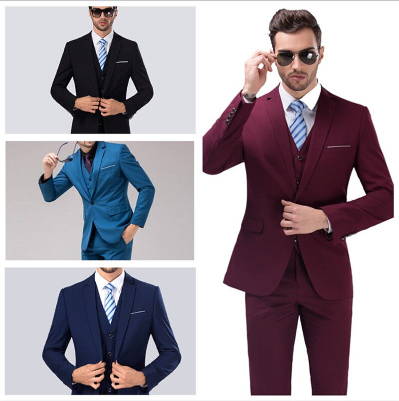 2016 New Style Men S Business Casual Suit Slim Wedding Suits Three Piece Ebay
