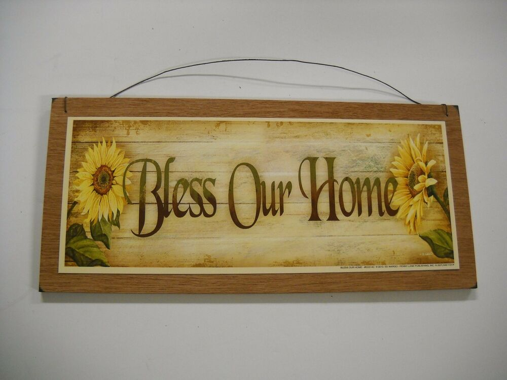 Wooden Kitchen Wall Decor : Sunflowers bless our home country kitchen wooden wall art