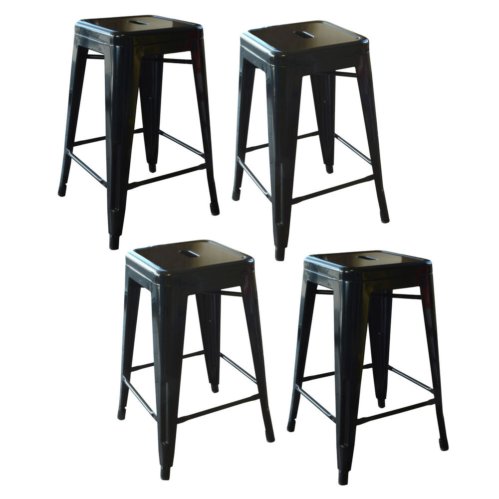 Amerihome Bs24blkset Loft Black 24 Inch Metal Bar Stool 4 Piece