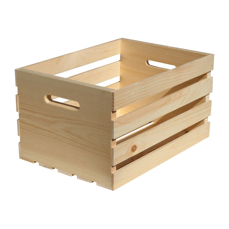 Large New Wooden Storage Box Diy Crates Toy Boxes Set: Crates & Pallet 67140 Unfinished Pine Wood Crate, Large