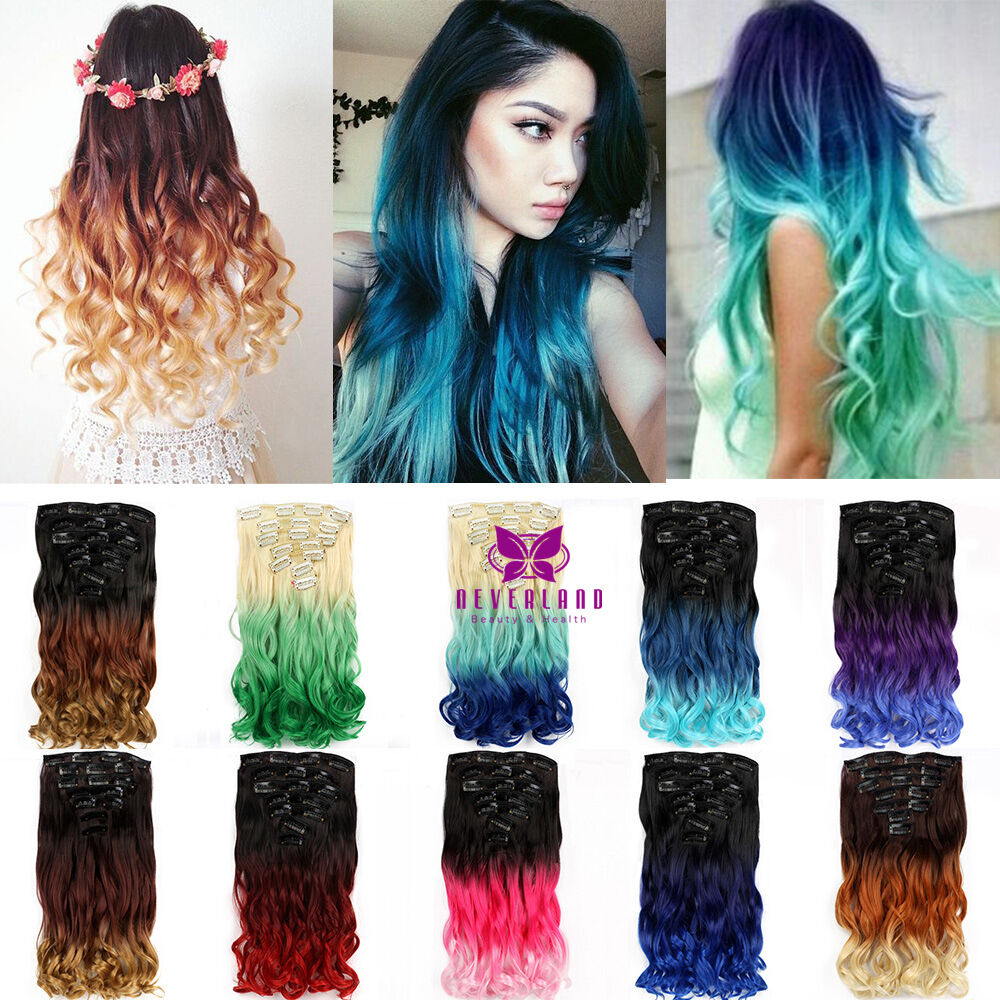 7 Pieces 16 Clips Full Head Clip In Ombre Hair Extensions 22 140g