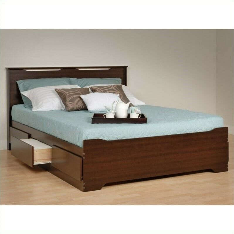 Prepac coal harbor queen platform storage bed with - Best platform beds with storage ...