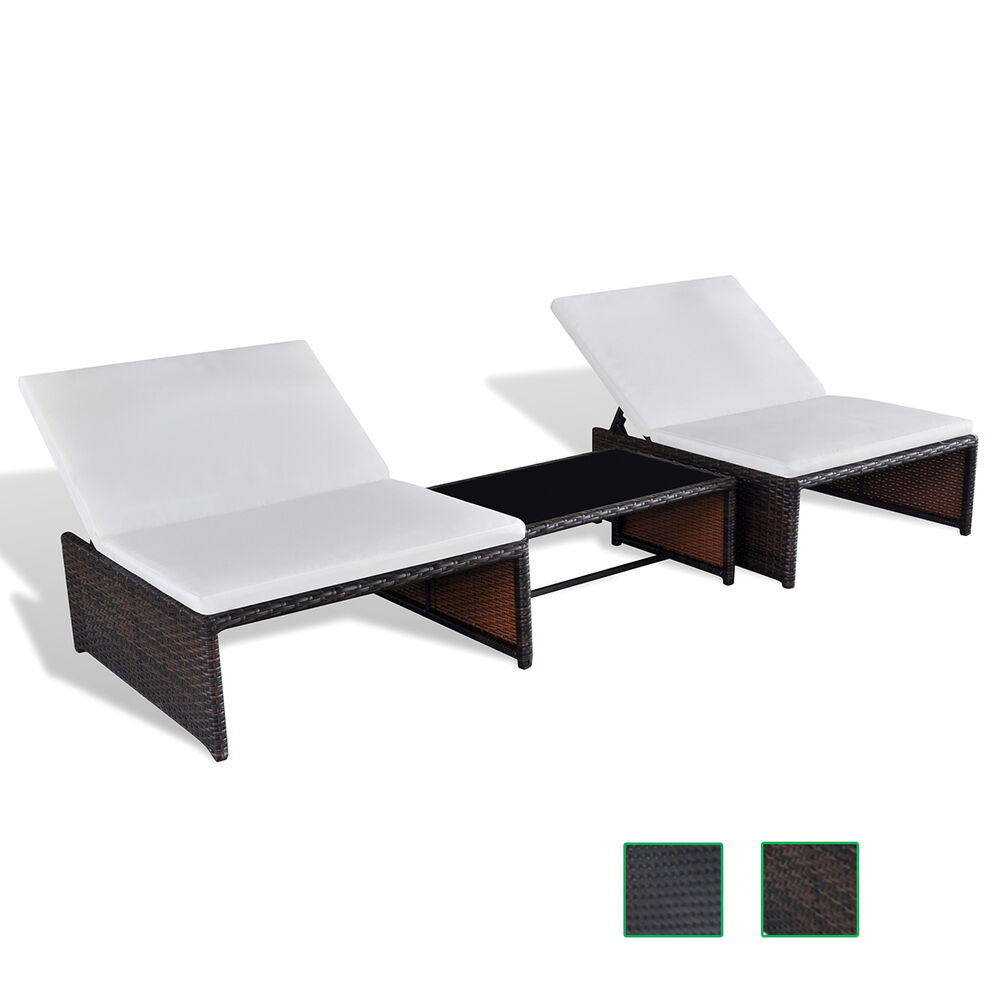 poly rattan sonnenliege lounge 2 er liege gartenm bel tisch verstellbare lehne ebay. Black Bedroom Furniture Sets. Home Design Ideas