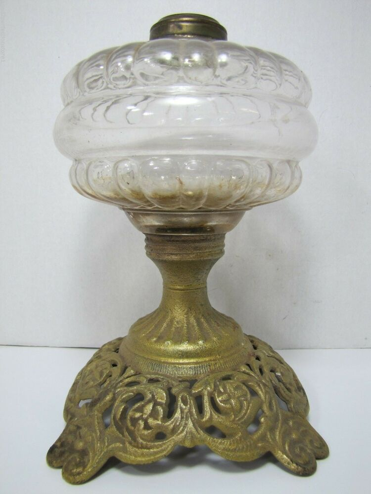 Antique Victorian Oil Lamp Detailed Cast Iron Base Old