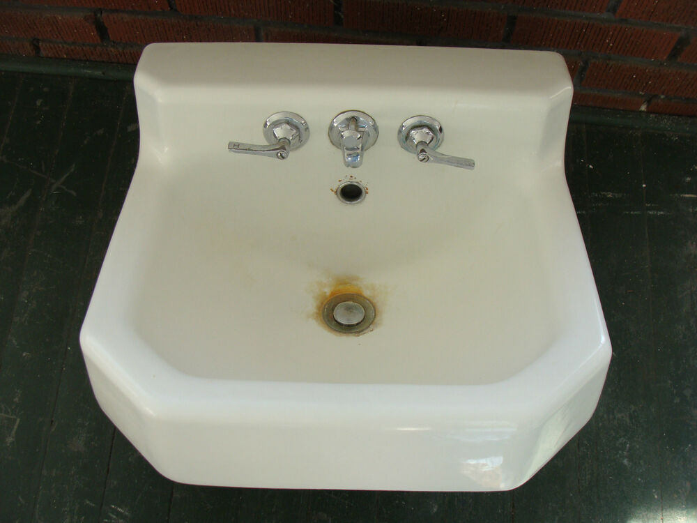 vintage 1950s kohler white cast iron porcelain sink