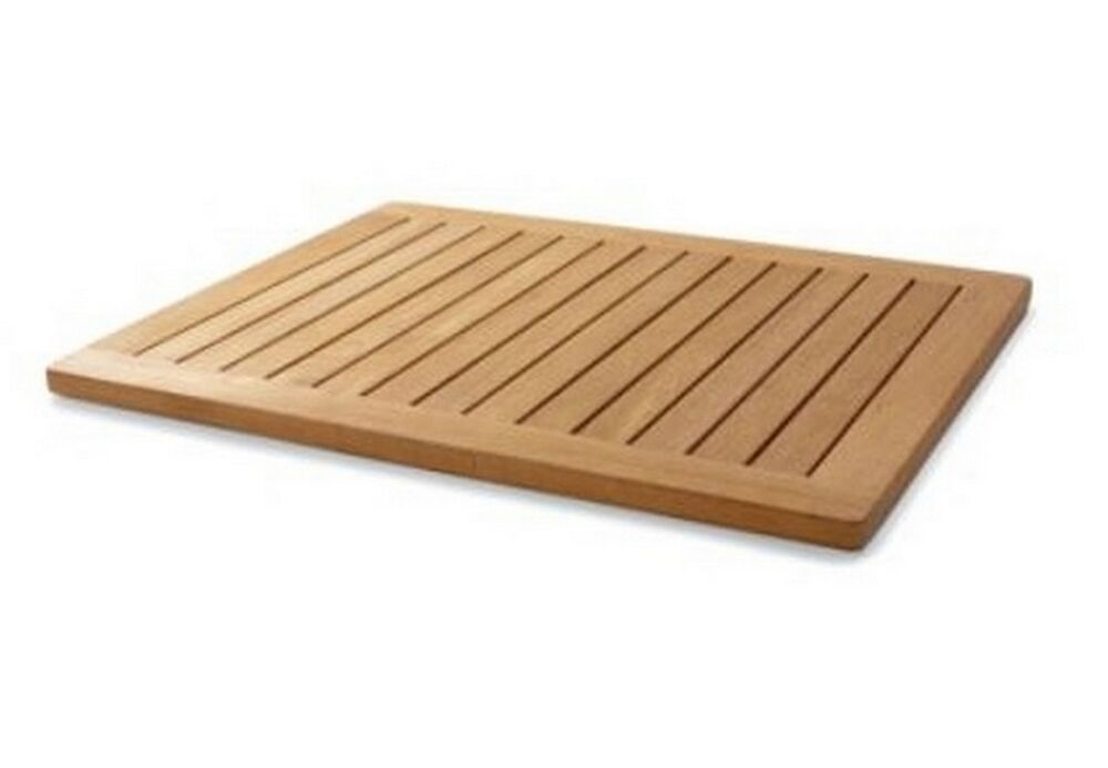 36x24 extra large a grade teak wood floor mat door shower for Garden pool mats