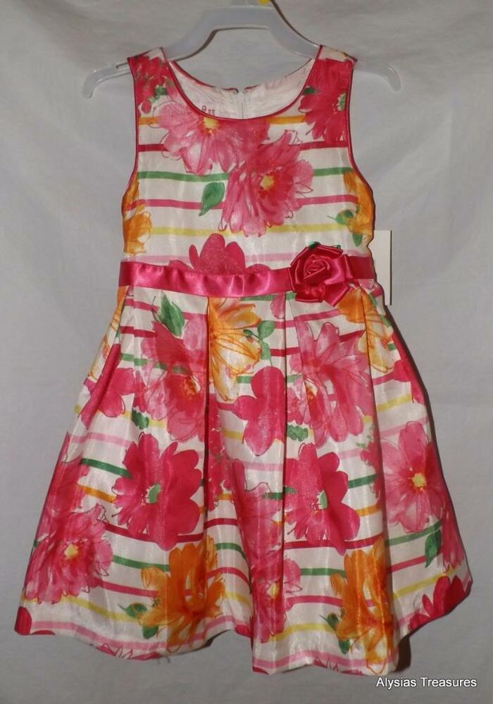 75d6d631511d1 Details about NEW NWT Trendy Bright Pink Floral Girls 3T / 3 Toddler  Sleeveless Church Dress