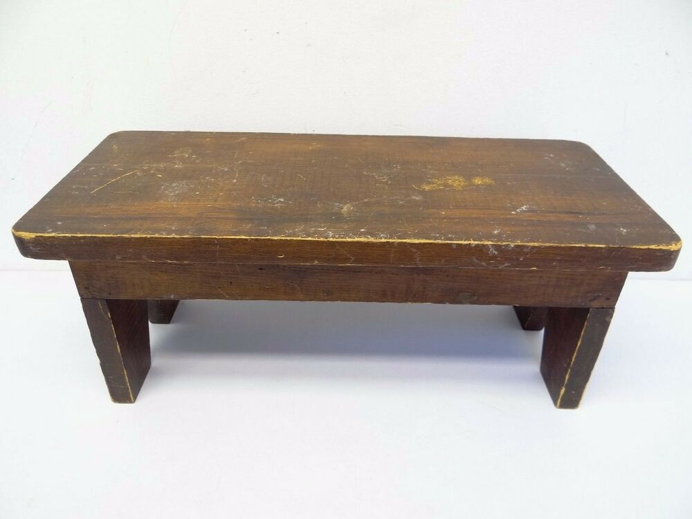 used homemade wood stained pine sitting stool footrest furniture