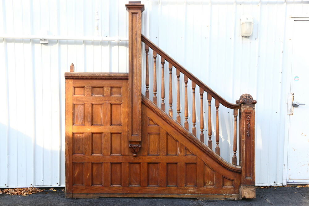 Victorian 1895 Oak Archictectural Salvage Staircase ...