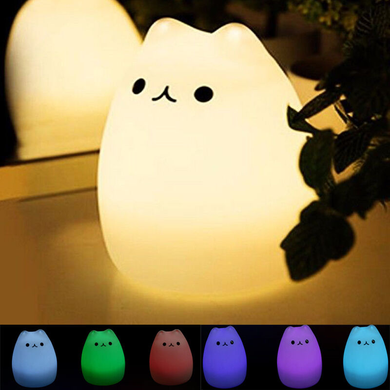 Kitty Cat Night Light Silicone Led Animal Soft Cute Baby